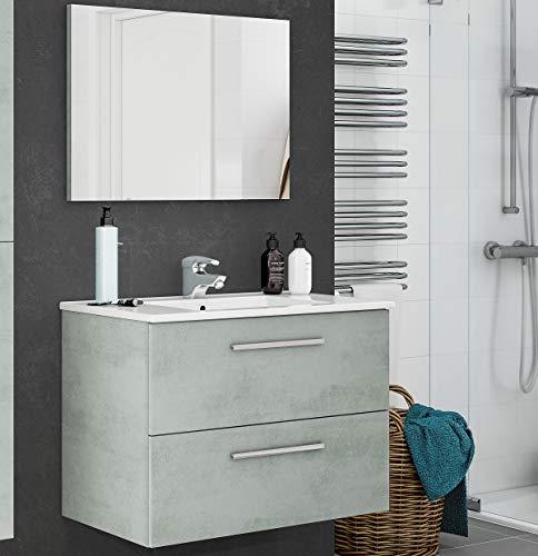 MarinelliGroup Mobile Bagno 80 sospeso con lavabo Ceramica e Specchio con cassetti Cemento. Dafne