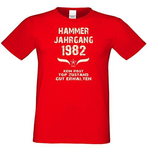 Geburtstagsshirt Mode Herren Geburtsjahr Hammer Jahrgang 1982 Geschenk zum 35. Geburtstag Freizeitlook Geschenkartikel Farbe: schwarz Rot