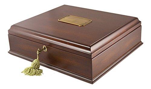 emory Box Organizer in Mahagoni Holz-Finish mit Schloss & Schlüssel ()