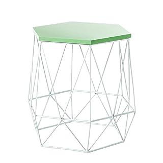 Metall Beistelltisch Couchtisch Tisch Ablage Sofatisch Nachttisch grün weiss