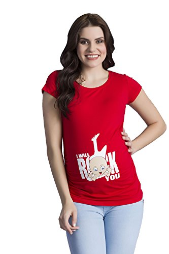 I Will Rock You - Witzige Süße Umstandsmode T-Shirt mit Motiv Schwangerschaft, Kurzarm (Medium, Rot) (Footless Tights Weiß)