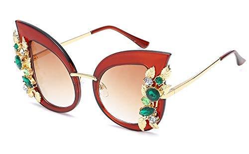 8 Farben Übergroße Sonnenbrille Grün Diamant Kristall Cat Eye Frauen Marke Brille Designer Fashion Weiblich 45263