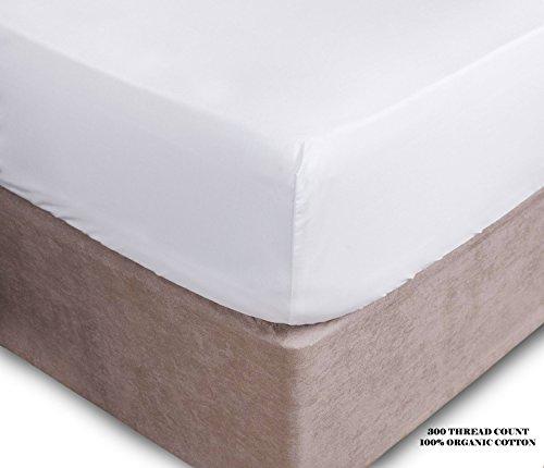 Preisvergleich Produktbild axeblink Platinum 300Fadenzahl Extra Tiefes Spannbettlaken Bio Baumwolle 40,6cm/40cm., weiß, Super King