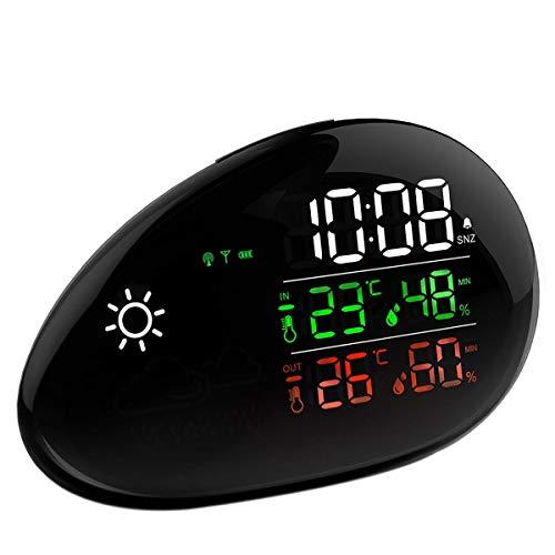 TinMiu Wetterstation Innen und Außenthermometer Luftfeuchtigkeit und Temperatur Monitor Wettervorhersage Wecker und Schlummerfunktion Wireless Station
