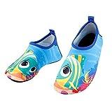 GWELL Enfant Animaux Cartoon Chaussons pour Sports Aquatiques - Souple Antiglissant Séchage Rapide - Chaussettes de Plage Fille Garçon Poisson 26-27