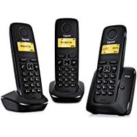 Gigaset A120 Trio - Teléfono Inalámbrico,  Pack de 3 Unidades, Agenda de 50 Contactos, Pantalla Iluminada, Color Negro