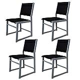 Chicreat sillón de jardín, plateado / negro Juego de 4
