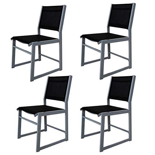 Chicreat - Lot de 4chaises de jardin en aluminium avec revêtement textile, Argenté et noir