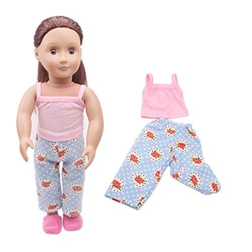 Kostüm Katze Boy - HKFV Kleidung & Hosen für 18 Zoll Unsere Generation American Girl & Boy Puppen Logan Doll 18-Zoll-American Girl Puppenkleidung + Hosen (Rosa)