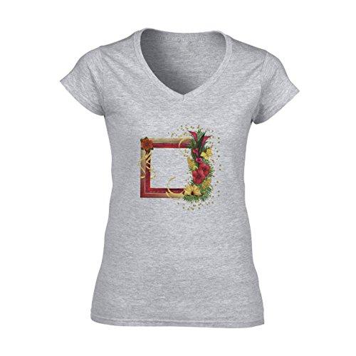 Flowers Nature Blossom Plant Frame Roses Damen V-Neck T-Shirt Grau