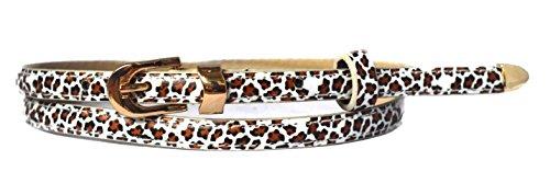 Sucre Belts Cinturón para mujer, de fina piel sintética multicolor leopardo