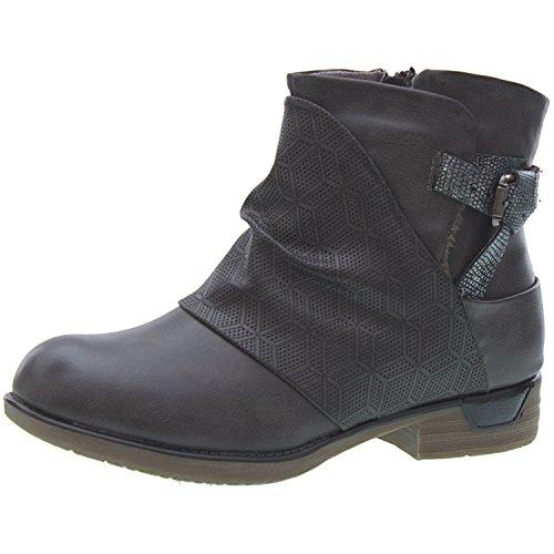 Sopily - Scarpe da Moda Stivaletti - Scarponcini Cavalier Biker alla caviglia donna Catena fibbia Tacco a blocco 3 CM - soletta sintetico - foderato di pelliccia - Grigio FRF-3309-2 T 39 - UK 6