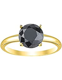 1.00 Carat 4 Claw Rose Cut Black Diamond Solitaire Engagement Ring, 9k Yellow Gold.