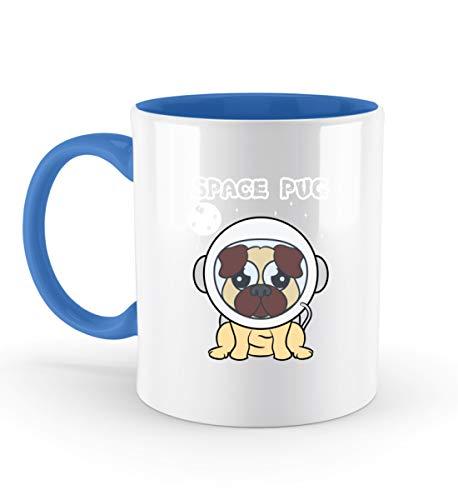 Affiliate.Inc Lustiger Mops im Astronautenanzug Space Pug Geschenkidee für Hundeliebhaber Doglover Neu - Zweifarbige Tasse -330ml-Blau