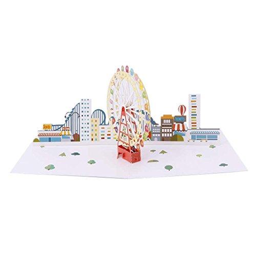ZOOMY 3D Pop Up Riesenrad Grußkarte Valentine Weihnachten Geburtstag Einladung 12 x 16 cm / 4,72
