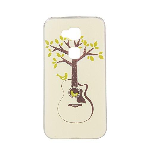 Feeltech Coque Apple iPhone 6/6S 4.7 Pouce en Silicone, Etui de Protection Flexible Anti-choc Résistant aux Rayures [Gratuit Noir 2 en 1 Stylet] Ultra Mince Souple TPU Pare-choc Transparent Protecteur Guitare Arbre