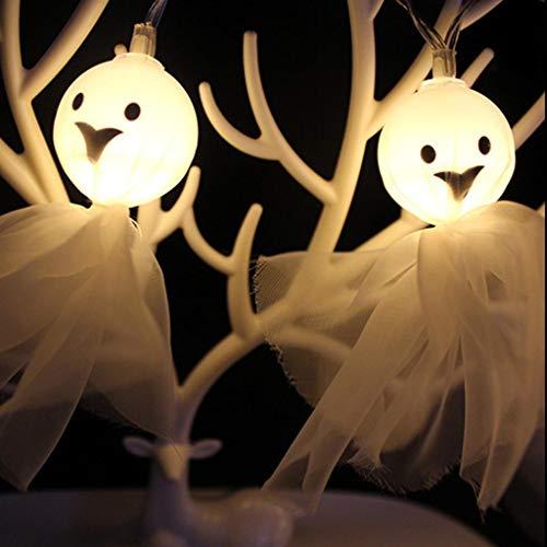 10 PCs LED 1.5 M Chaîne de Lumières Fantôme Halloween, QinMM Tissu Fantôme Squelette Fête Décor Horrible Guirlande Cran Extérieur Décoration Décor Cadeaux Salon Fête et Festival Lampe DIY (Blanc, 10 PCs)