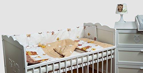 Garten Bettbezug (Velinda 6-tlg. Baby-Bettwäsche-Set Bettzeug Bettbezug Bettgarnitur für Babybett 70x140 (Muster: Teddys im Garten_Beige))