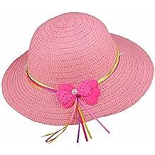 Samgu Bowknot Enfants Chapeau de Paille Summer Beach Filles Chapeaux de  Plage Enfants Sun Hat pour 04a1aeb076c