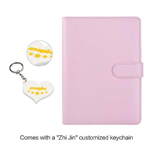 Zhi Jin, raccoglitore ricaricabile con inserti, adatto per quaderni e taccuini. Formato: A5. Con portapenne Cherry Pink