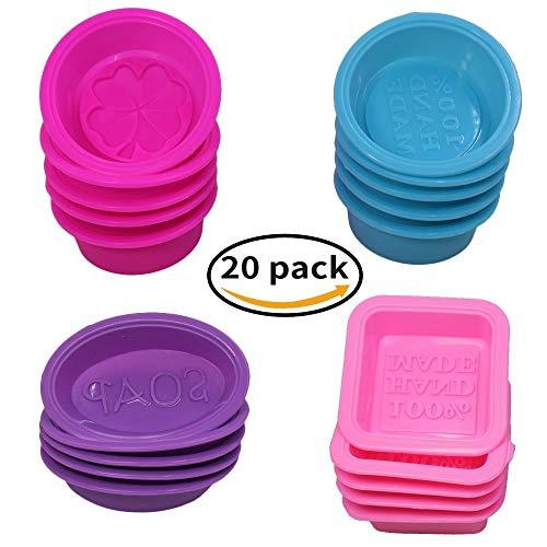 Lot de 20 Silicone Savon Fabrication de Moules, Carré Rond Ovale en Forme, FineGood Soft Cupcake Muffin Cuisson au Four pour Bricolage Artisanat, de Qualité Alimentaire - Rose, Bleu, Rose Rouge, Violet