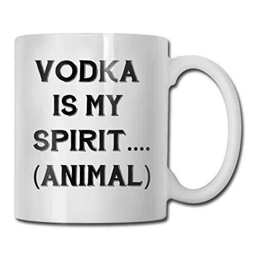 Daawqee Becher Coffee Mugs 11oz Funny Cup Milk Juice Or Tea Cup Vodka is My Spirit Animal Birthday