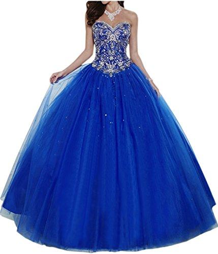 Gorgeous Bride Elegant Herzform Lang A-Linie Ballon Tuell Satin Abendkleider Festkleid Ballkleid -40...
