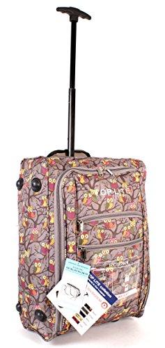 cabin-wb-op-01 Gris imprimé chouettes deux VOL Valise de cabine à roulettes léger bagage à main Sac de voyage