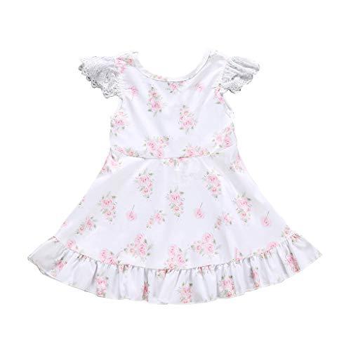 squarex Sommer Kleinkind Kinder Baby Mädchen Kleidung Lace Sleeve Flower Print gekräuselte Party Prinzessin Kleid Bequeme Freizeitkleidung - Gekräuselte Lace Top