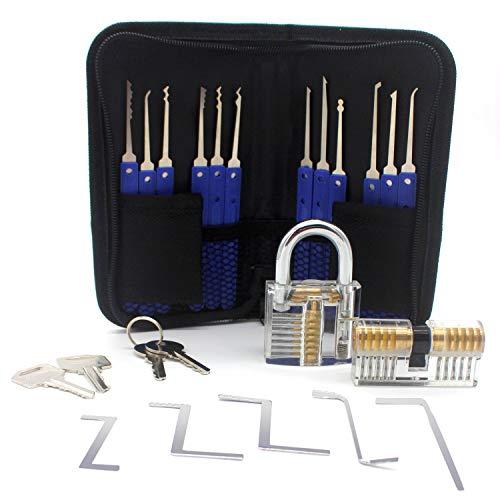 OneChois Lockpicking Set, 22-teiliges Dietrich Set, Lockpick Set inkl. 2 transparenten Trainingsschlössern für Schlosser, Anfänger und Profi mit Koffer