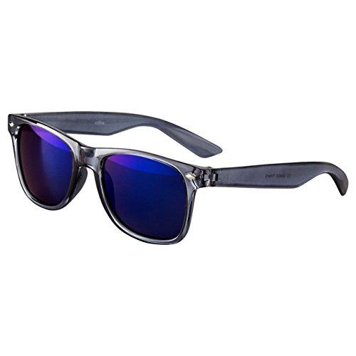 Ciffre Sonnenbrille Nerdbrille Nerd Retro Look Brille Pilotenbrille Vintage Look - ca. 80 verschiedene Modelle Grau Transparent Blau Glas