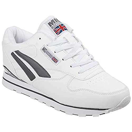 Mens White & Grey Classic Sports Trainers Size 6 to 12 UK SPORTS SHOES WORK  ATHLETIC RUNNING CASUAL LEISURE (8 UK). CLASSIC by MIG