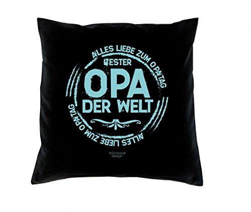 Witziges Kissen mit Füllung für den Groß-Vater-Tag - Bester Opa der Welt - bedrucktes Dekokissen als Geschenk für den Opa - Farbe: schwarz