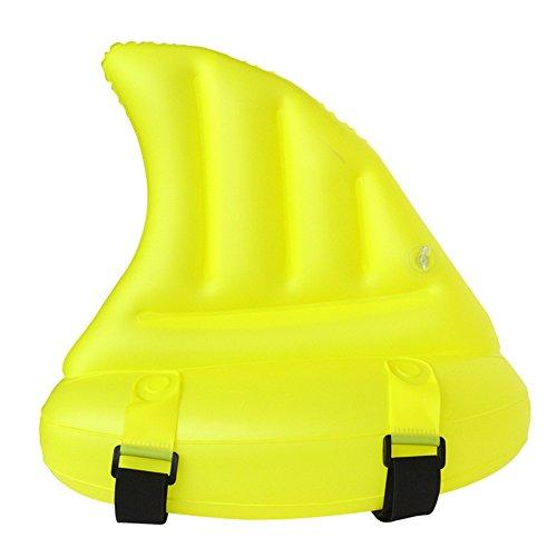 Hffan Swimmingpool-Faltbare aufblasbare Kinder, die aufblasbare Hilfshai-Flosse verdickendes aufblasbares lustiges Spielzeug-Kind Schwimmend Werkzeuge Schwimmen-Ring-Wasser-Floß Schwimmen (Gelb)