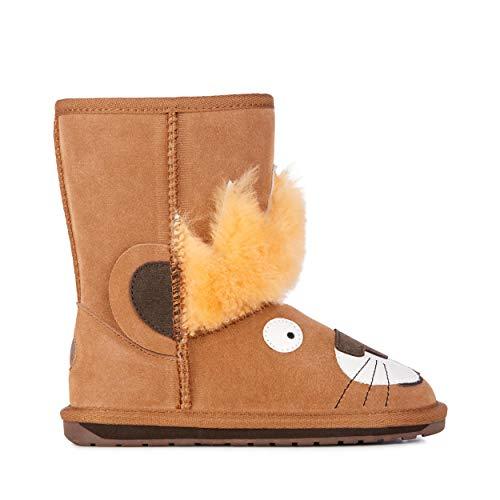 emu australia kids leo lion deluxe wool boots in chestnut
