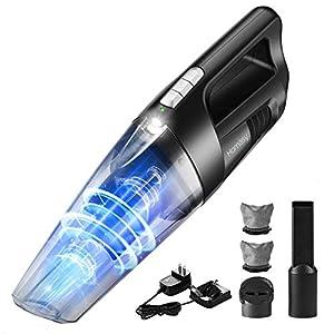 Handstaubsauger Akku Beutellos mit LED-Beleuchtung & Wandhalterung & Rückschlagklappe, Kabellos Akkusauger Handsauger (Nass/Trocken, 5Kpa, 25min, 0,5L), Tischstaubsauger für Zuhause Autos Wohnmobil