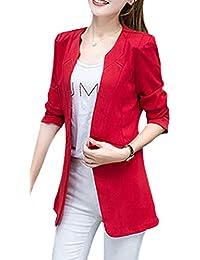 757bdfad49e1d Femme Blazer Printemps Automne Uni Manche Costume Elégante Mode Festives  Veste Manches Longues Vintage avec Poches Casual Dame…