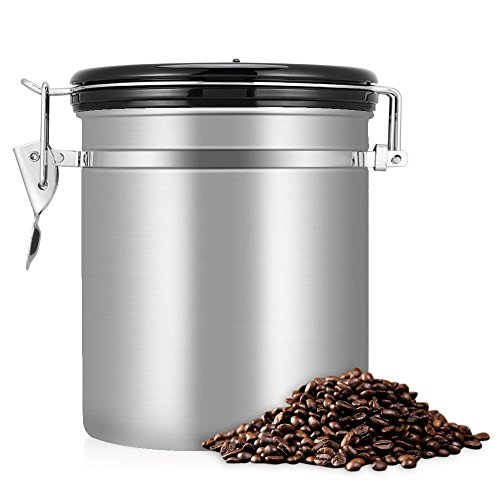 Zerodis 1.5L Kaffeedose Luftdicht Edelstahl mit Deckel und Aromaverschluss Kaffeebohne Behälter...