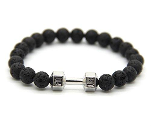 GOOD.designs Hantel Armband aus echten Natursteinperlen, Herren Crossfit Perlenarmband (Lava - Silber)