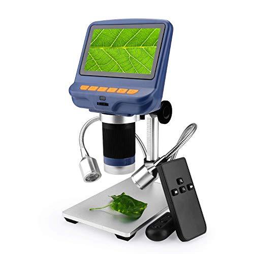 Microscopes 4,3 4,3-Zoll-1080P-Digital-LCD-USB-Mikroskop mit 10-facher bis 220-facher Vergrößerung, 8 einstellbare 8 LED-Leuchten, für die biologische Verwendung des Telefonreparatur-Schweißwerkzeugs