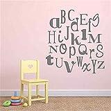 wandaufkleber 3d Alphabet Vinyl Wall Decal - Kinderzimmer Schlafzimmer Funky Fonts Aufkleber - Vinyl Wall Art Sticker bunte oder einfache Farbe