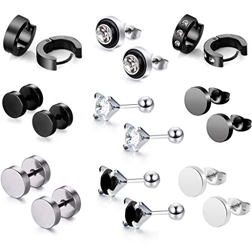 9 Pair of Stainless Steel Earrings CZ for Men Women Ear Studs Piercing Cubic Zirconia Barbell Helix Tragus