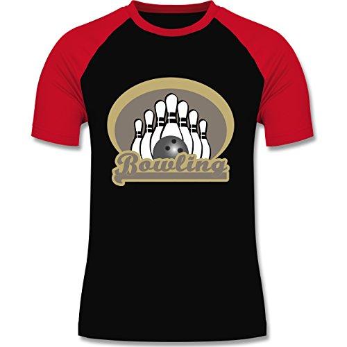Shirtracer Bowling & Kegeln - Bowling Old School - XXL - Schwarz/Rot - L140 - Herren Baseball Shirt (Anzahl Spieler T-shirt)