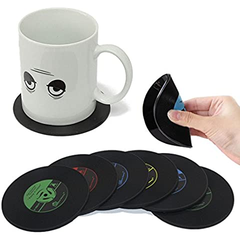 JJOnlineStore - 6pcs Retro CD Disc Record Vinyl Vintage Groovy Coffee Drink Cup Mug Mat Coasters Chic Silicone Tableware Cafe Kitchen Lounge Pub Bar Home by