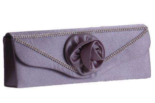 EyeCatchBags - Distinct Damen Clutch Handtäschchen Partytäschchen Handtasche Grau