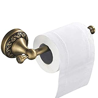 WOMAO Messing Toilettenpapierhalter, Retro Klorollenhalter Papierhalter, Antik Finished mit Schnitzerei Wandmontag Bohren für WC