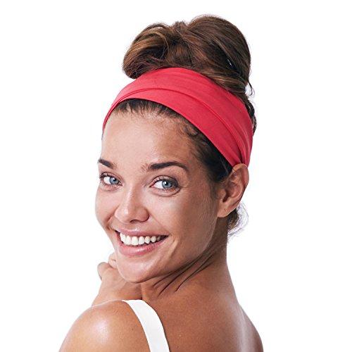 BLOM Multi-Stirnband für Sport oder Mode, Yoga oder Reisen Super bequem. Designer-Stil und -Qualität., Coral Punch (Rot Halo-helm)