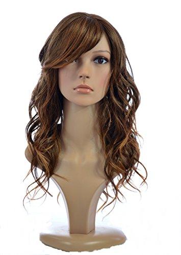 Longue Perruque Ondulée Mélange de Cheveux Humains Jen | Brun Ombré Riche Deux Tons | Frange sur le côté