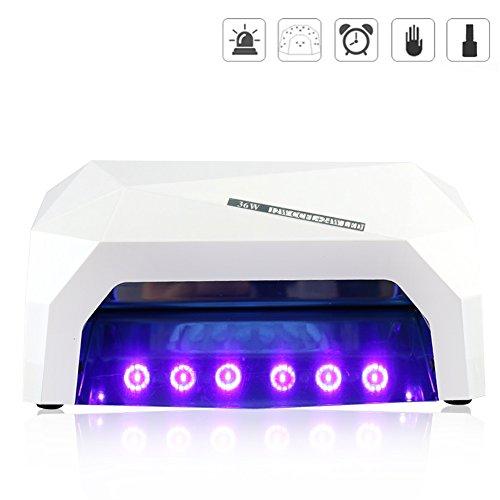 Rheane 36W Lampe UV LED Ongles Professionnelle avec Auto Induction 3 Minuterie de 30s/60s/90s pour Shellac Vernis Semi Permanent Gel UV Gel Nail Polish - Blanc
