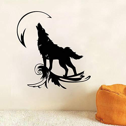 Wandtattoo Heulender Wolf am Mond Wandaufkleber Home Decoration Wandtattoos Für Magische Geister Wolf Wild Animal Vinyl Kunst 57 * 60 cm Geister Server